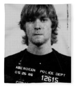 Kurt Cobain Mug Shot Vertical Black And Gray Grey Fleece Blanket