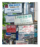Kuta Street Signs -- Bali Fleece Blanket