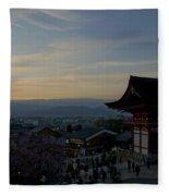 Kyoto And Kiyomizu-dera At Sunset Fleece Blanket