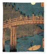 Kyoto Bridge By Moonlight Fleece Blanket
