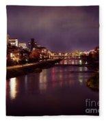 Kyoto Nighttime City Scenery Of Kamo River With Street Lights Re Fleece Blanket
