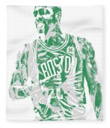 Kyrie Irving Boston Celtics Pixel Art 7 Fleece Blanket