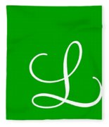 L In White Simple Script Fleece Blanket