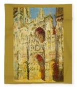 La Cathedrale De Rouen Le Portail Et La Tour Saint-ro Claude Oscar Monet Fleece Blanket