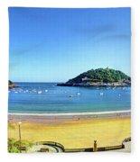 La Concha Bay San Sebastian Fleece Blanket