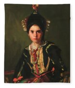 La Montera Segovia Girl In Fiesta Costume 1912 Fleece Blanket