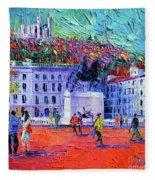 La Place Bellecour A Lyon Fleece Blanket