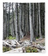 La Push Beach Trees Fleece Blanket