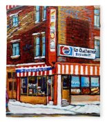 La Quebecoise Restaurant Montreal Fleece Blanket