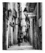 La Rambia Bw Street Gothic Quarter Narrow People  Fleece Blanket