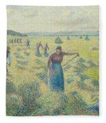 The Harvesting Of Hay Eragny  Fleece Blanket