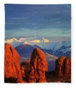 La Sal Mountains In Arches Np Utah Fleece Blanket