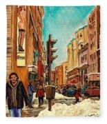 La Senza St Catherine Street Downtown Montreal Fleece Blanket