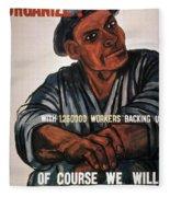 Labor Poster, 1930s Fleece Blanket