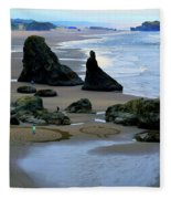 Labyrinths At Bandon Beach Fleece Blanket