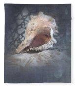 Lace Murex Sea Shell In Blue Fleece Blanket