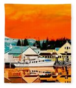 Laconner Last Water Front Panel Painting Fleece Blanket
