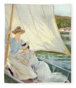 Ladies In A Sailing Boat  Fleece Blanket