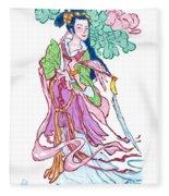 Lady He Of The Eight Immortals Fleece Blanket