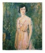 Lady In A Pink Dress Fleece Blanket