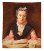 Lady In A Pink Silk Dress Fleece Blanket