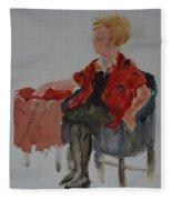 Lady In Chair Fleece Blanket