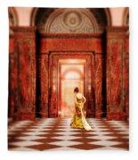 Lady In Golden Gown Walking Through Doorway Fleece Blanket