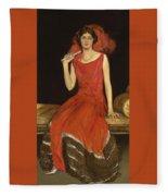 Lady In Red - Mrs Owen Barton Jones Fleece Blanket