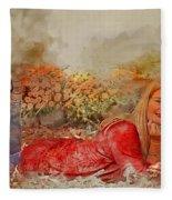 Lady In The Leaves 1 Fleece Blanket