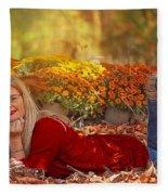 Lady In The Leaves Fleece Blanket