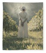 Lady In Vineyard Fleece Blanket