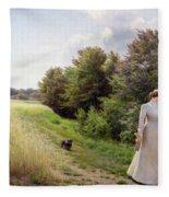 Lady In White Reading  Fleece Blanket