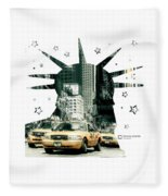 Lady Liberty And The Yellow Cabs Fleece Blanket