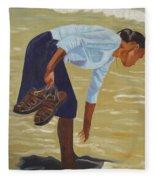 Lady On The Seashore Fleece Blanket
