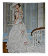 Lady On The Staircase Fleece Blanket