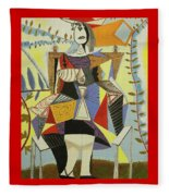 Lady Sitting Fleece Blanket