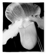 Lady Slipper Orchid Black And White Fleece Blanket