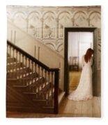Lady Standing In A Doorway Fleece Blanket