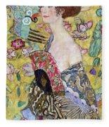 Lady With A Fan Fleece Blanket