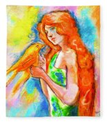 Lady With Canary Fleece Blanket