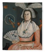 Lady With Her Pets. Molly Wales Fobes Fleece Blanket