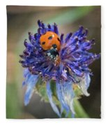 Ladybug On Purple Flower Fleece Blanket