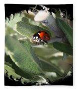 Ladybug On Sage With Swirly Framing Fleece Blanket