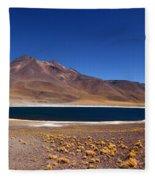 Laguna Miniques And Miniques Volcano Chile Fleece Blanket