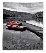 Lake And Boats Fleece Blanket