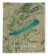 Lake Balaton 3d Render Satellite View Topographic Map Fleece Blanket