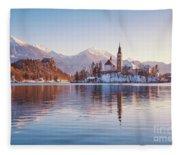 Lake Bled Winter Sunrise Fleece Blanket