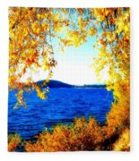 Lake Coeur D'alene Through Golden Leaves Fleece Blanket