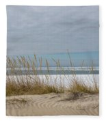 Lake Erie Ice Blanket With Sand Dunes And Dry Grass Fleece Blanket