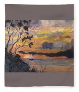 Lake Erie Sunset Fleece Blanket